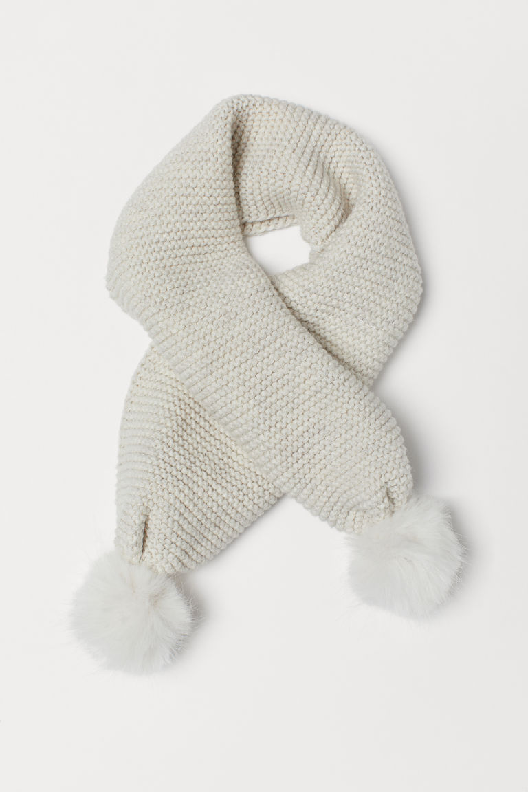 Scarf with pompoms - Natural white - Kids | H&M