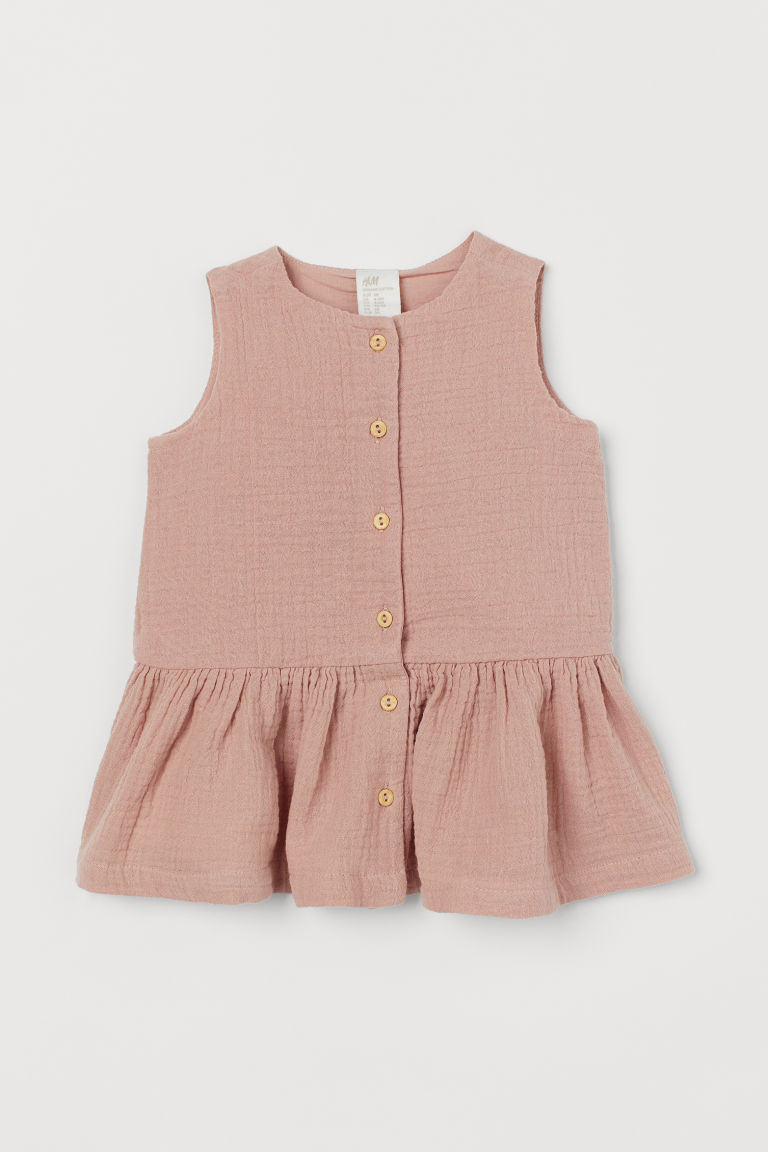 Double-weave cotton dress - Old rose - Kids | H&M