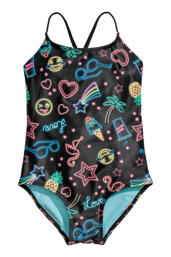 755a344b8f Printed swimsuit - Black/Neon signs - Kids | H&M 1