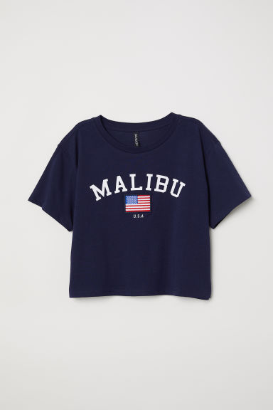 Cropped T-shirt - Dark blue/Malibu -  | H&M CN