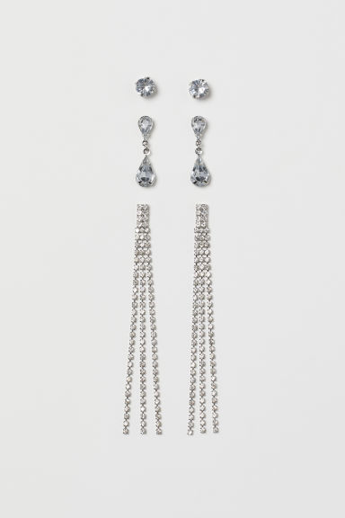 3 pairs sparkly stone earrings - Silver-coloured - Ladies | H&M
