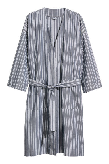 Oxford cotton dressing gown - Dark blue/White striped -  | H&M CN