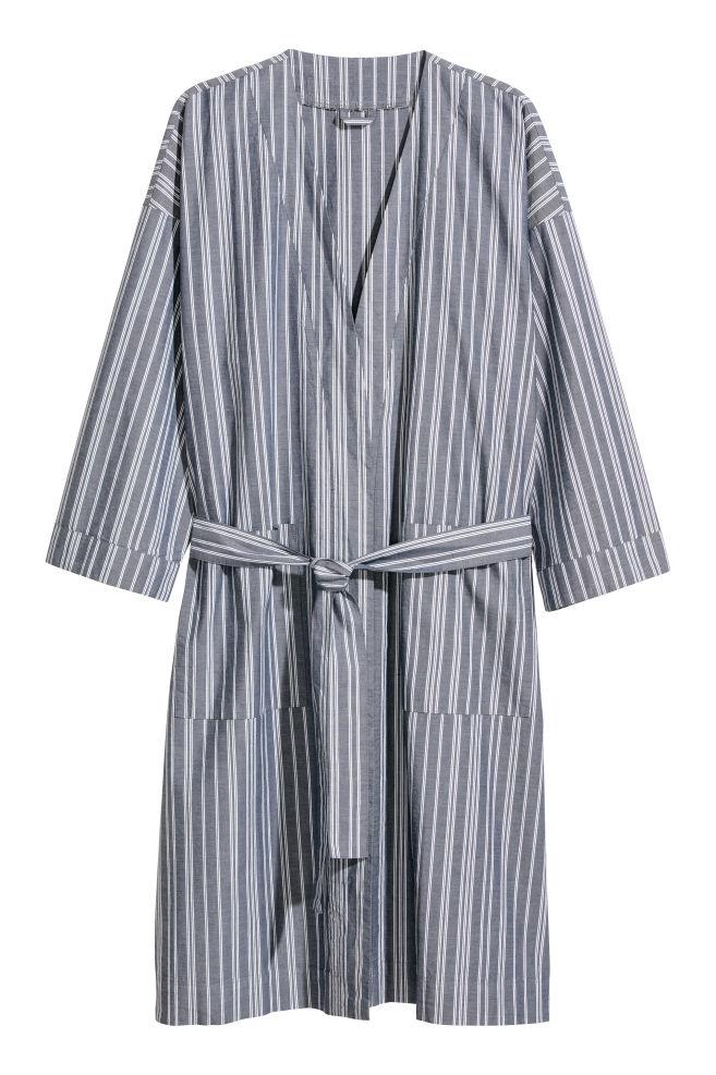 Oxford cotton dressing gown - Dark blue White striped - Men  9afb334b0