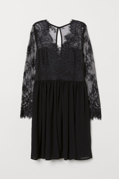 Short lace dress - Black - Ladies | H&M