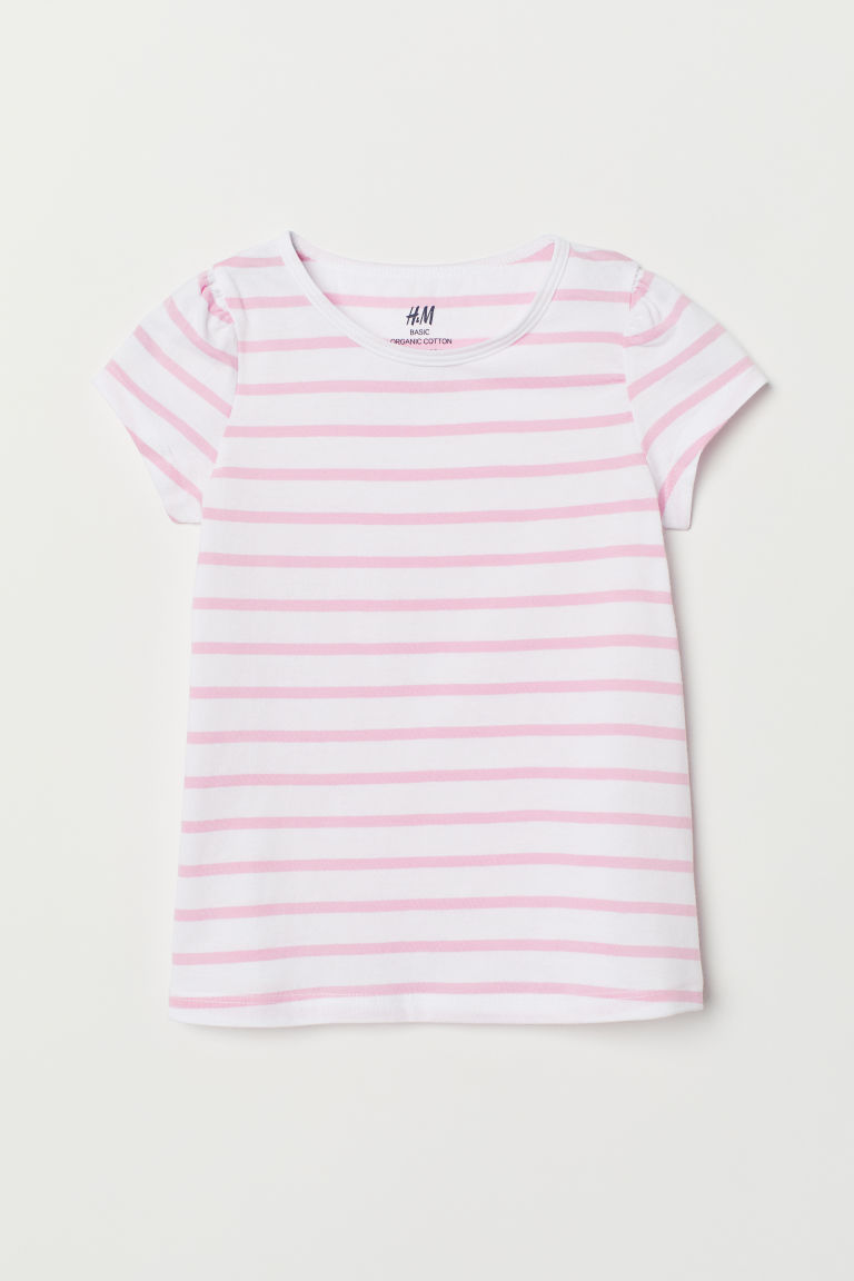 Top with puff sleeves - White/Pink striped - Kids | H&M CN