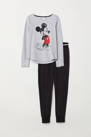 Jersey pyjamas - Light grey marl/Mickey Mouse - Kids | H&M CN