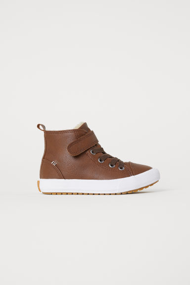 Pile-lined hi-tops - Dark brown -  | H&M