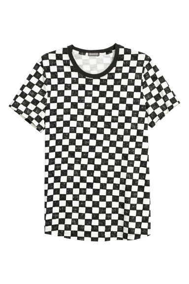 T-shirt larga - Branco/Quadriculado -  | H&M PT