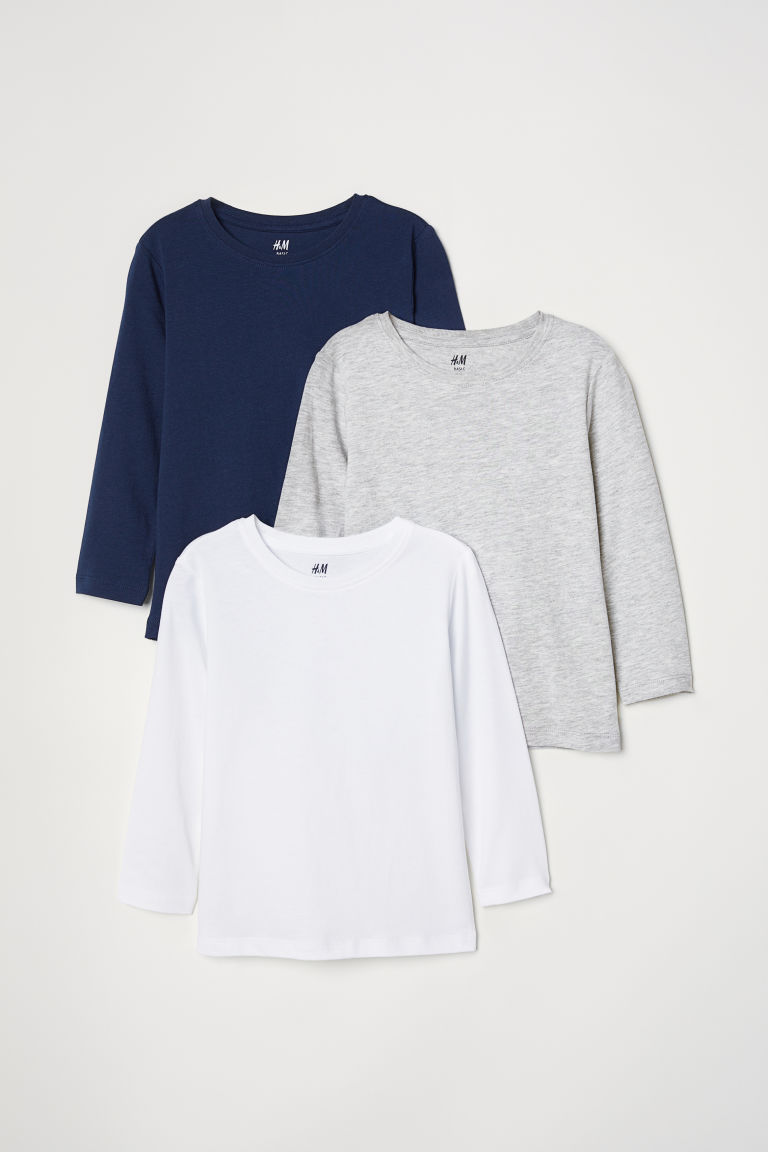 3-pack jersey tops - Dark blue -  | H&M CN
