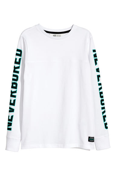 Long-sleeved jersey top - White - Kids | H&M CN