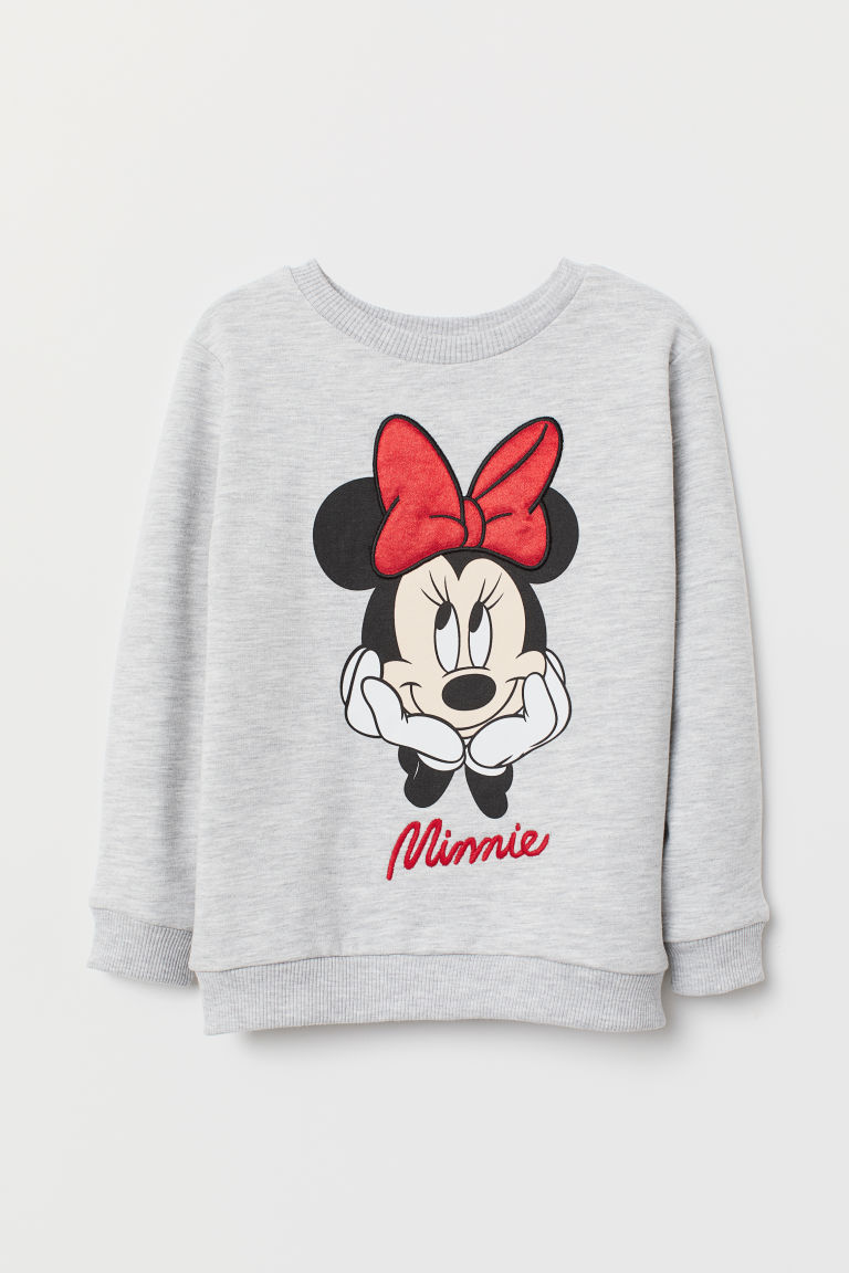 Long-sleeved top - Grey marl/Minnie Mouse - Kids | H&M