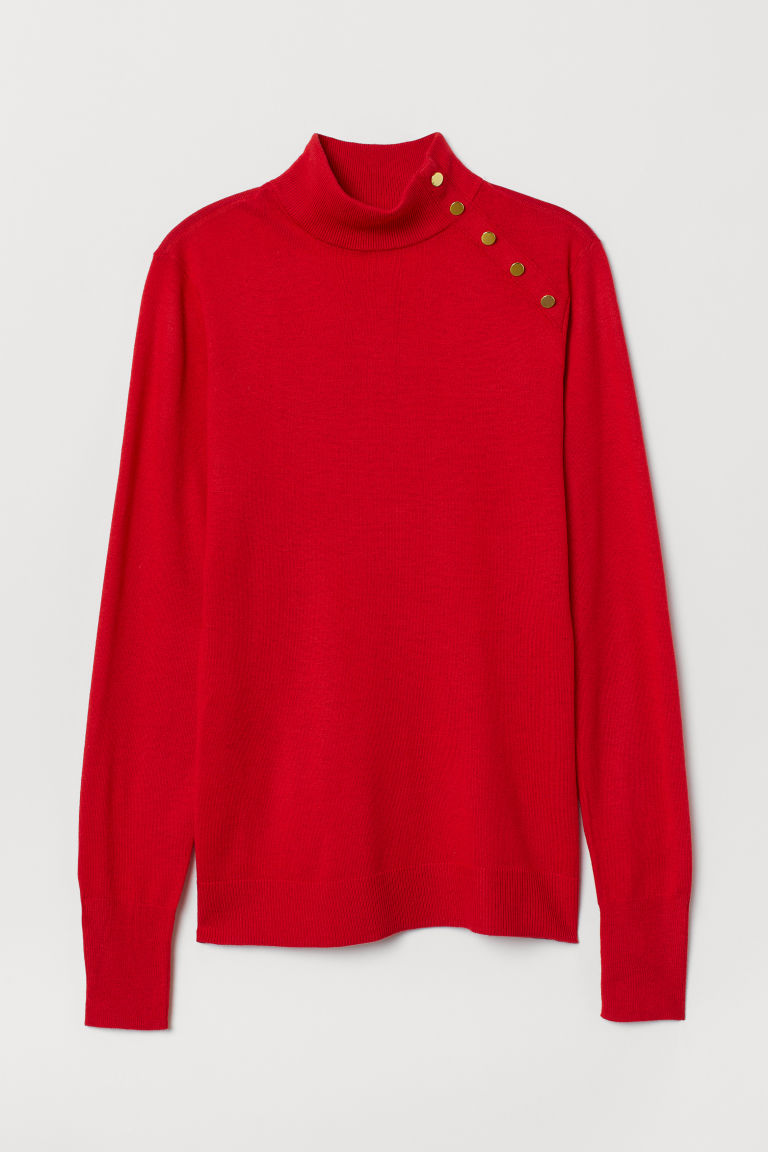 Fine-knit jumper - Red - Ladies | H&M CN