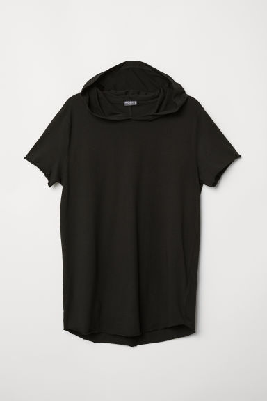 T-shirt with a hood - Black - Men | H&M