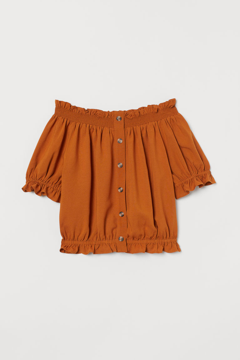 Off-the-shoulder blouse - Ochre - Ladies | H&M