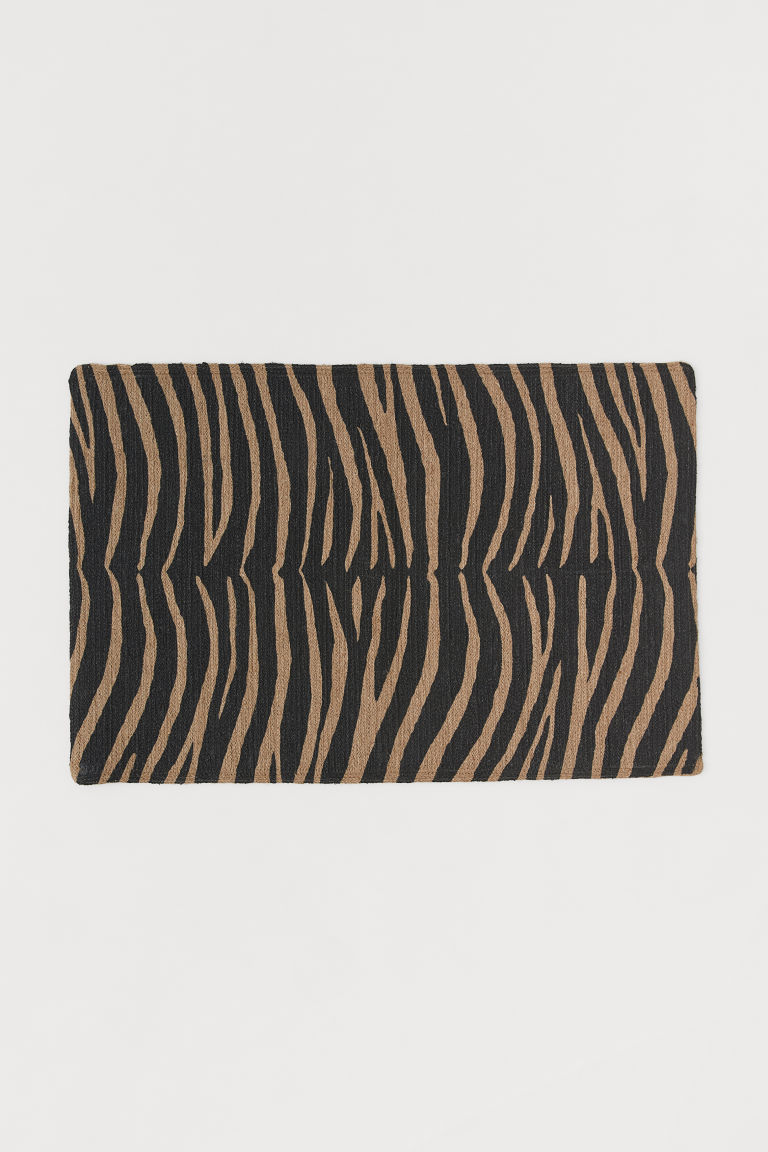 Jute bath mat - Black/Zebra print - Home All | H&M CN