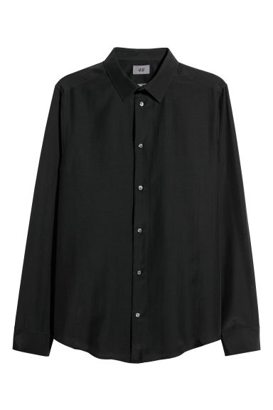 Cotton-blend shirt Slim fit - Black - Men | H&M