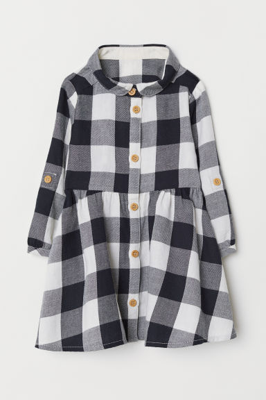 Checked shirt dress - Black/White checked - Kids | H&M