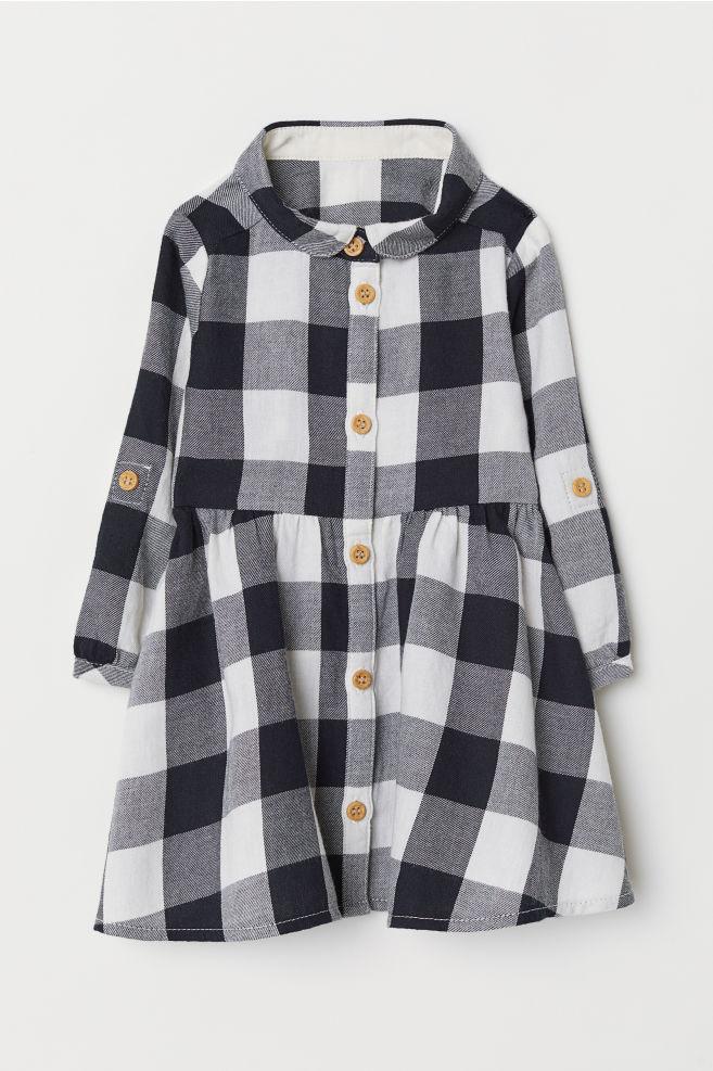 Kostkované košilové šaty - Černá bílá kostka - DĚTI  a5d5a02ac7
