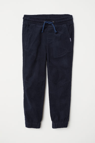 Cotton pull-on trousers - Dark blue/Corduroy - Kids | H&M