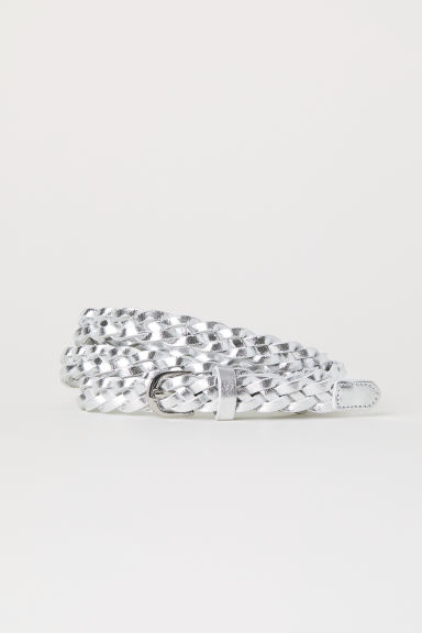 Braided belt - Silver-coloured - Ladies | H&M CN