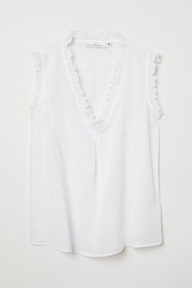 Sleeveless cotton blouse - White - Ladies | H&M