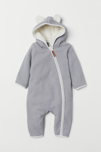 Hooded fleece all-in-one suit - Light grey - Kids | H&M