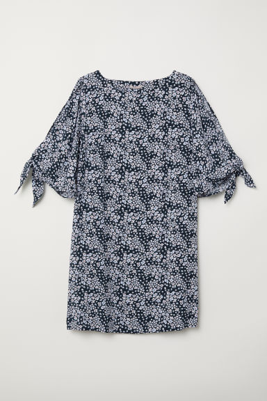 H&M+ Patterned viscose dress - Dark blue/Floral - Ladies | H&M CN