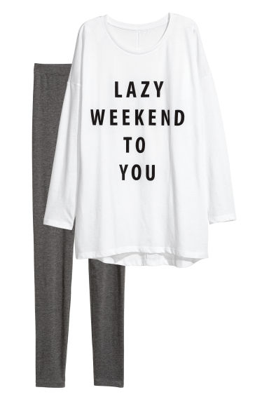 Pyjama top and leggings - White/Grey marl -  | H&M CN
