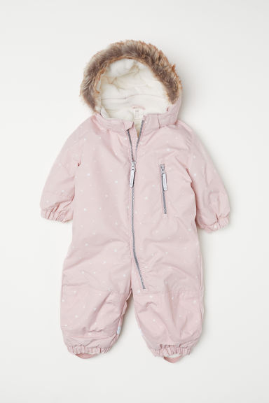 Padded outdoor all-in-one suit - Light pink/Hearts - Kids | H&M