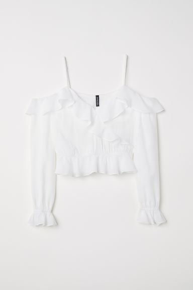 Cold shoulder blouse - White -  | H&M CN