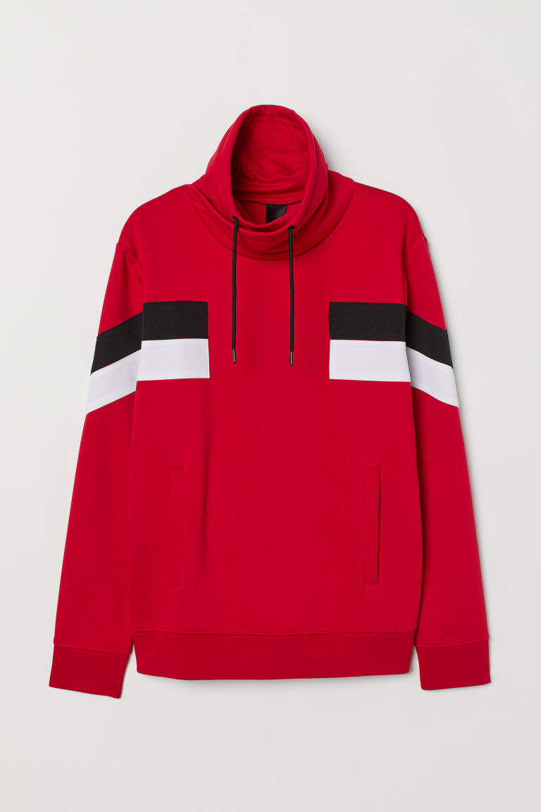 Funnel-collar sweatshirt - Red/Block-patterned - Men | H&M CN