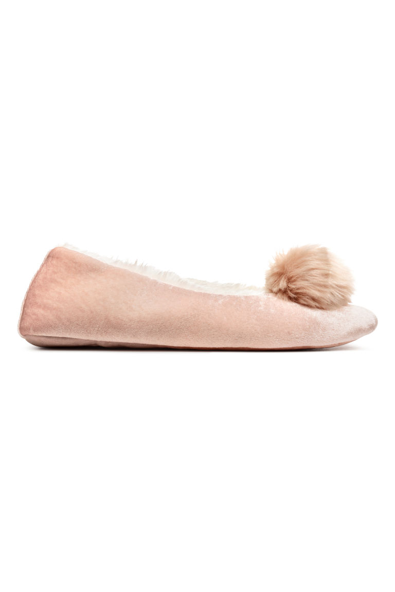 Soft ballet shoe slippers - Powder pink/Pompom - Ladies | H&M CN