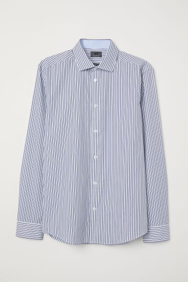 Premium cotton shirt - White/Blue striped - Men | H&M