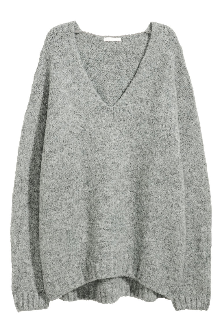 Knitted wool-blend jumper - Grey - Ladies | H&M