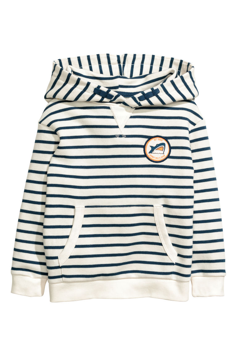 Hooded top - White/Blue striped - Kids | H&M
