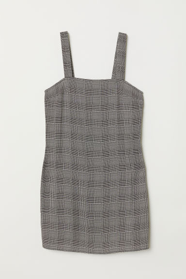 Short viscose dress - Black/White checked - Ladies | H&M