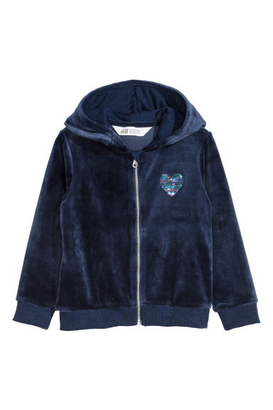 Velour hooded jacket - Dark blue -  | H&M CN