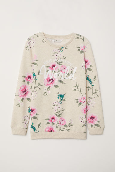 Sweatshirt - Light beige/Floral - Kids | H&M