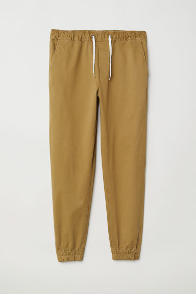 Cotton twill joggers - Dark beige - Men | H&M