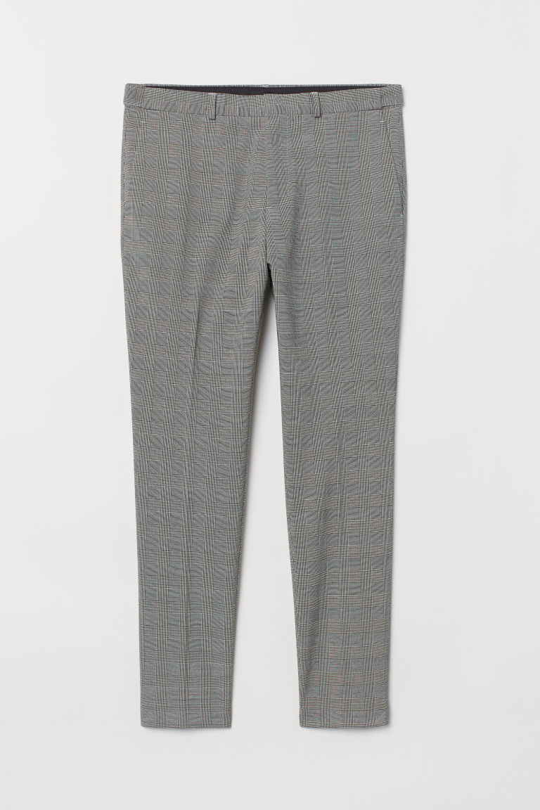 Suit trousers Skinny Fit - Black/White checked - Men | H&M CN