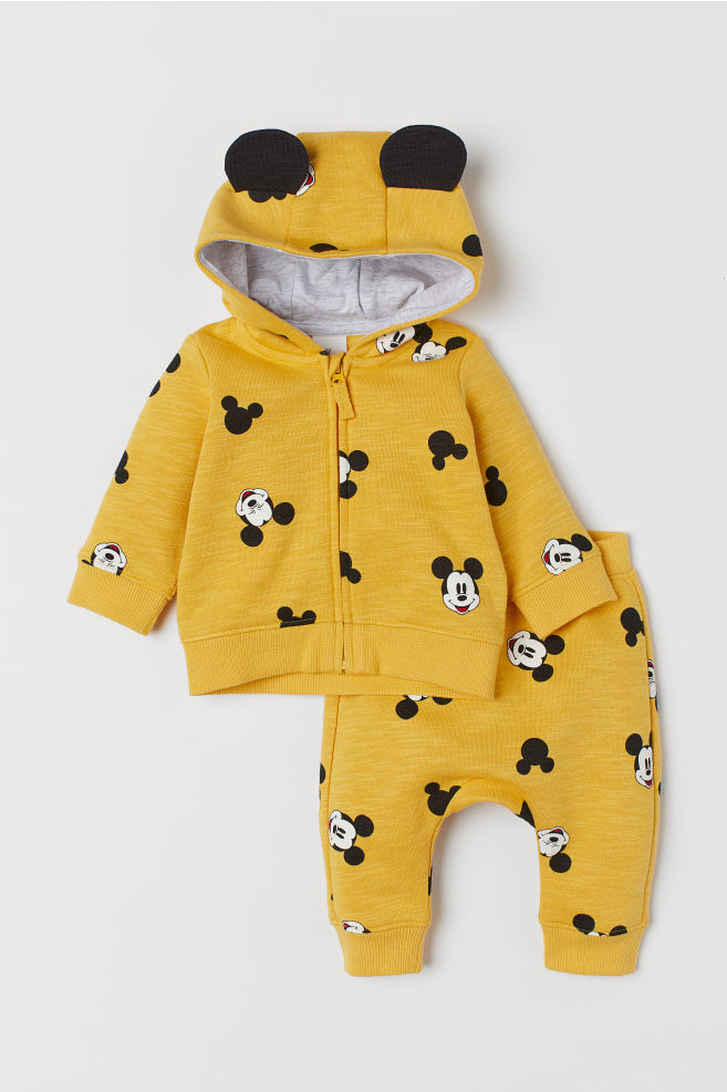 90fa793e3 Hooded Jacket and Joggers - Yellow/Mickey Mouse - | H&M ...