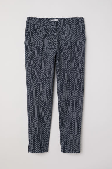 Tailored trousers - Dark blue/Patterned - Ladies | H&M