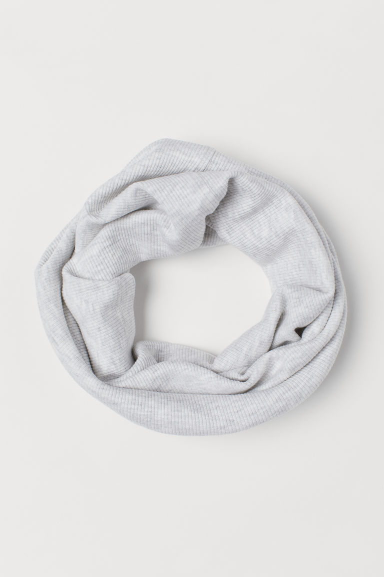 Ribbed Tube Scarf - Light gray melange - Kids | H&M US