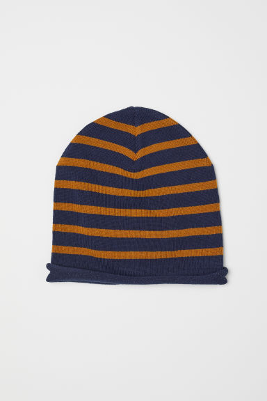 Fine-knit hat - Dark blue/Yellow striped -  | H&M