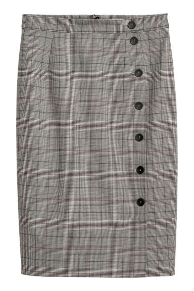 Knee-length skirt - Beige/Checked - Ladies | H&M