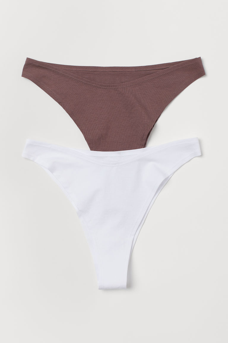 2-pack Brazilian briefs - Plum/White - Ladies | H&M