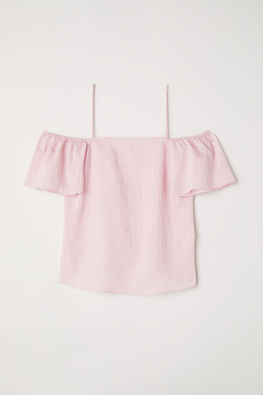 Off-the-shoulder blouse - Light pink - Ladies | H&M CN