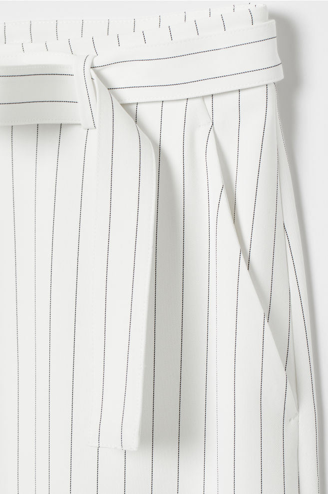 5f3b7d5018c9ff ... Wide-leg Pants with Belt - White/black striped - Ladies | H&M US
