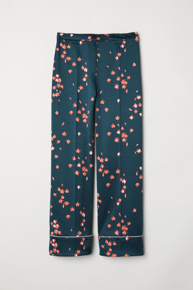 Wide satin trousers - Dark green/Patterned - Ladies | H&M CN