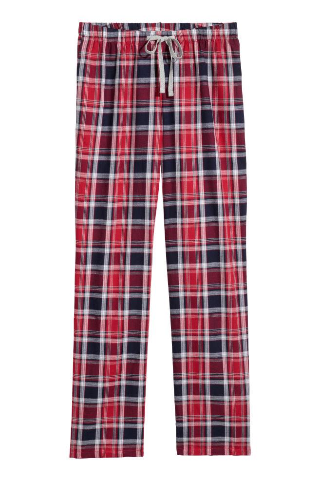 70b047be58d Долнище на пижама от бархет - Червен/Сини карета - ЖЕНИ | H&M ...